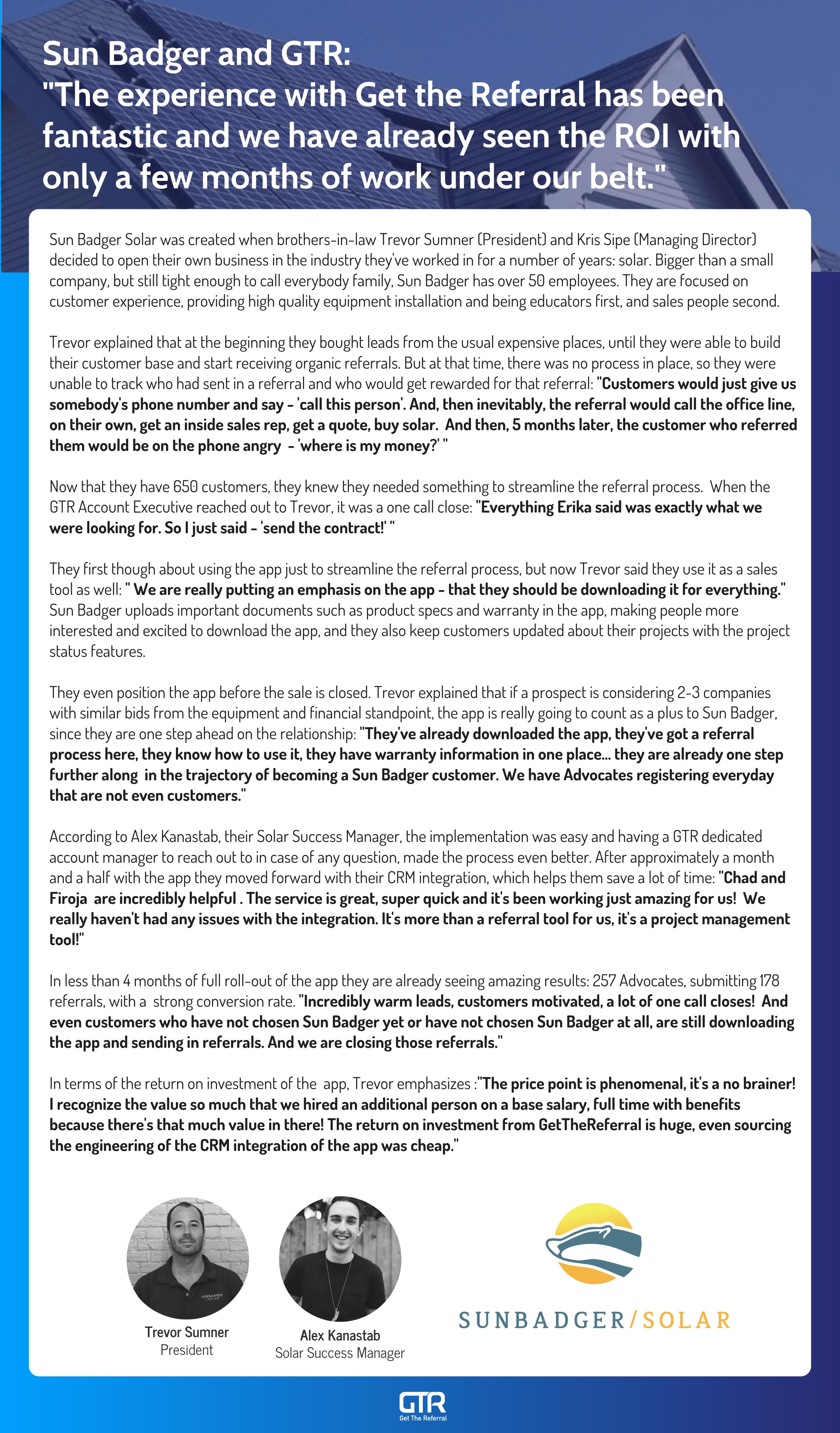Sun Badger Success Story with GTR
